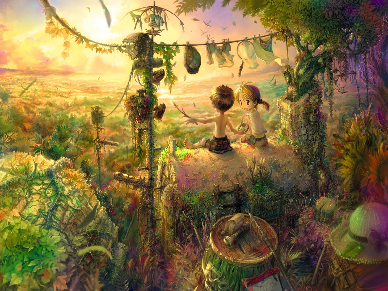 Аниме: Мальчик, Девочка, беседа, игра, природа, закат.