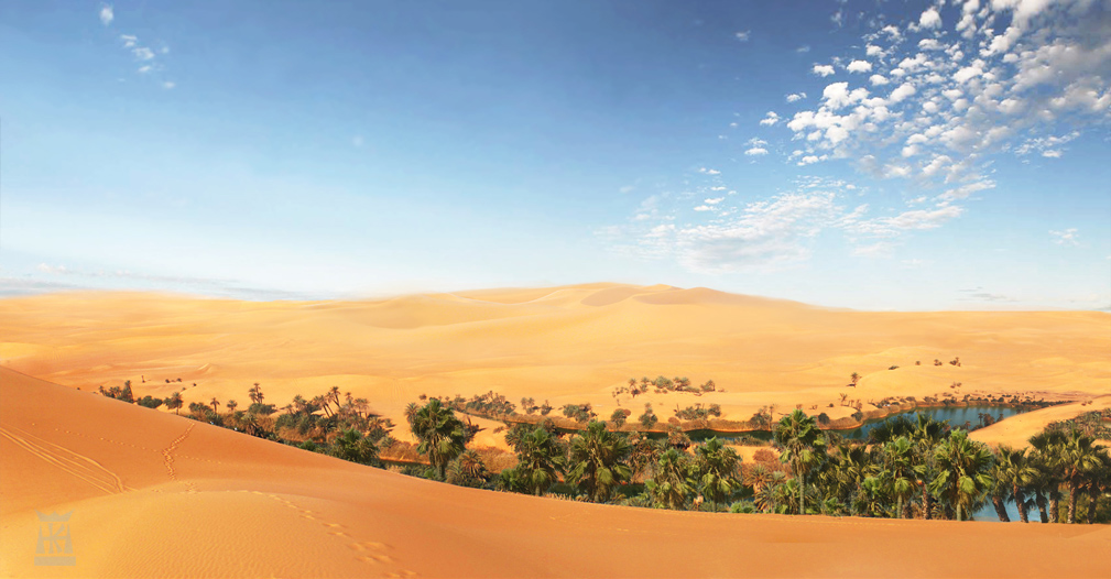 Desert Oasis Art - ID: 35685 Oasis Landscape Wallpaper