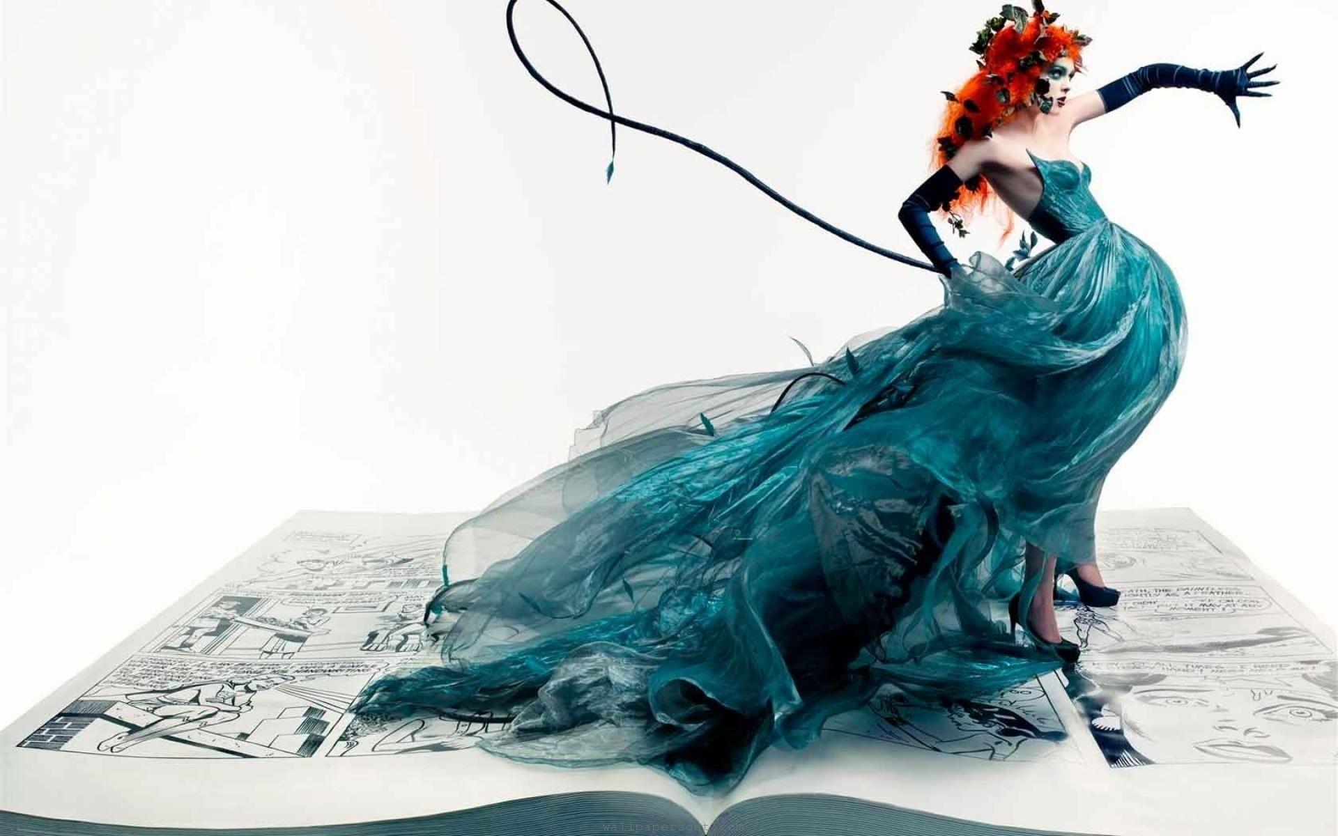 Women Gloves Artistic Redheads Fashion Illustrations Blue Dress Coco