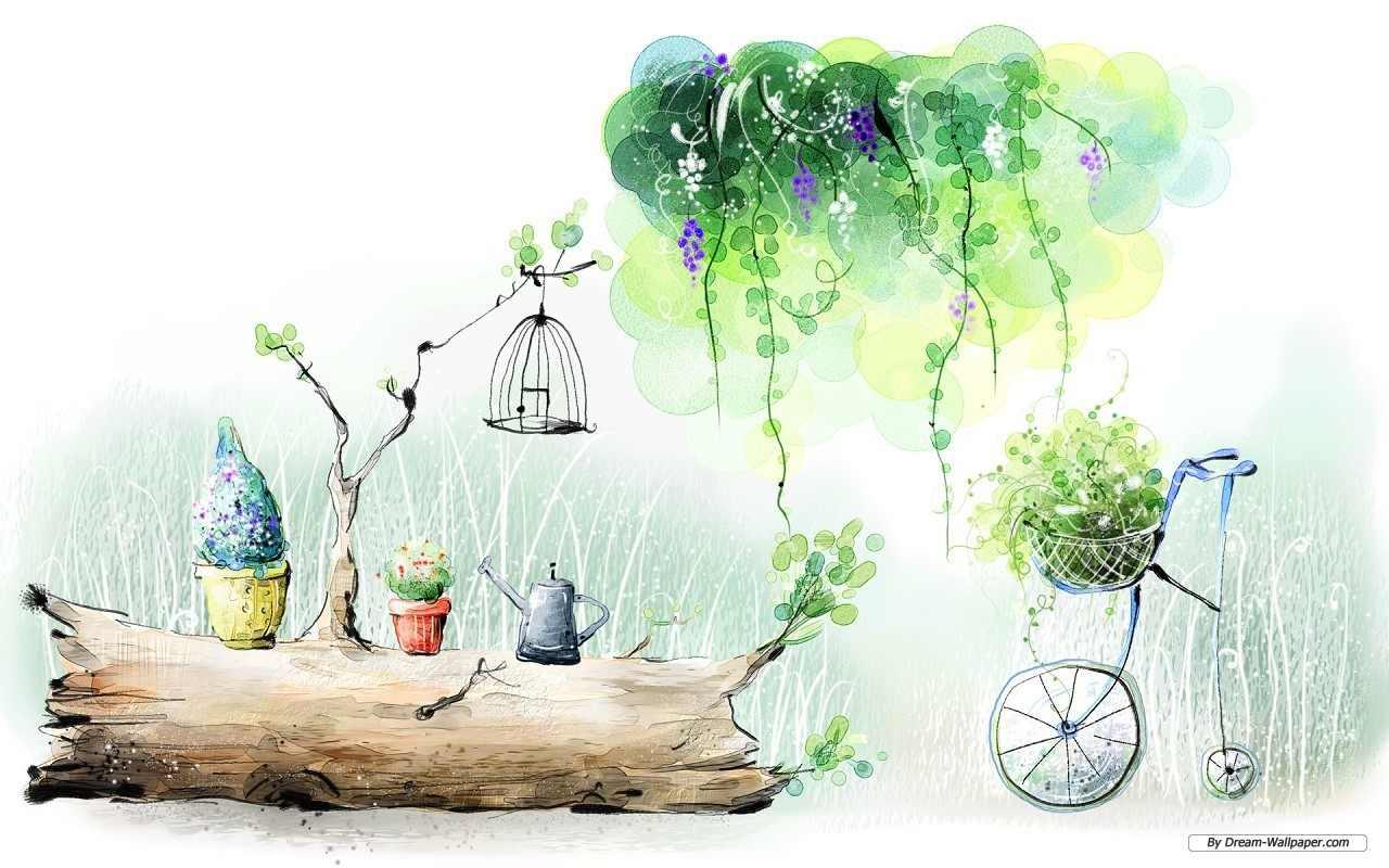 1920x1200 растения, зелень, май, акварель, рисунок, природа картинки на рабочий стол обои фото скачать