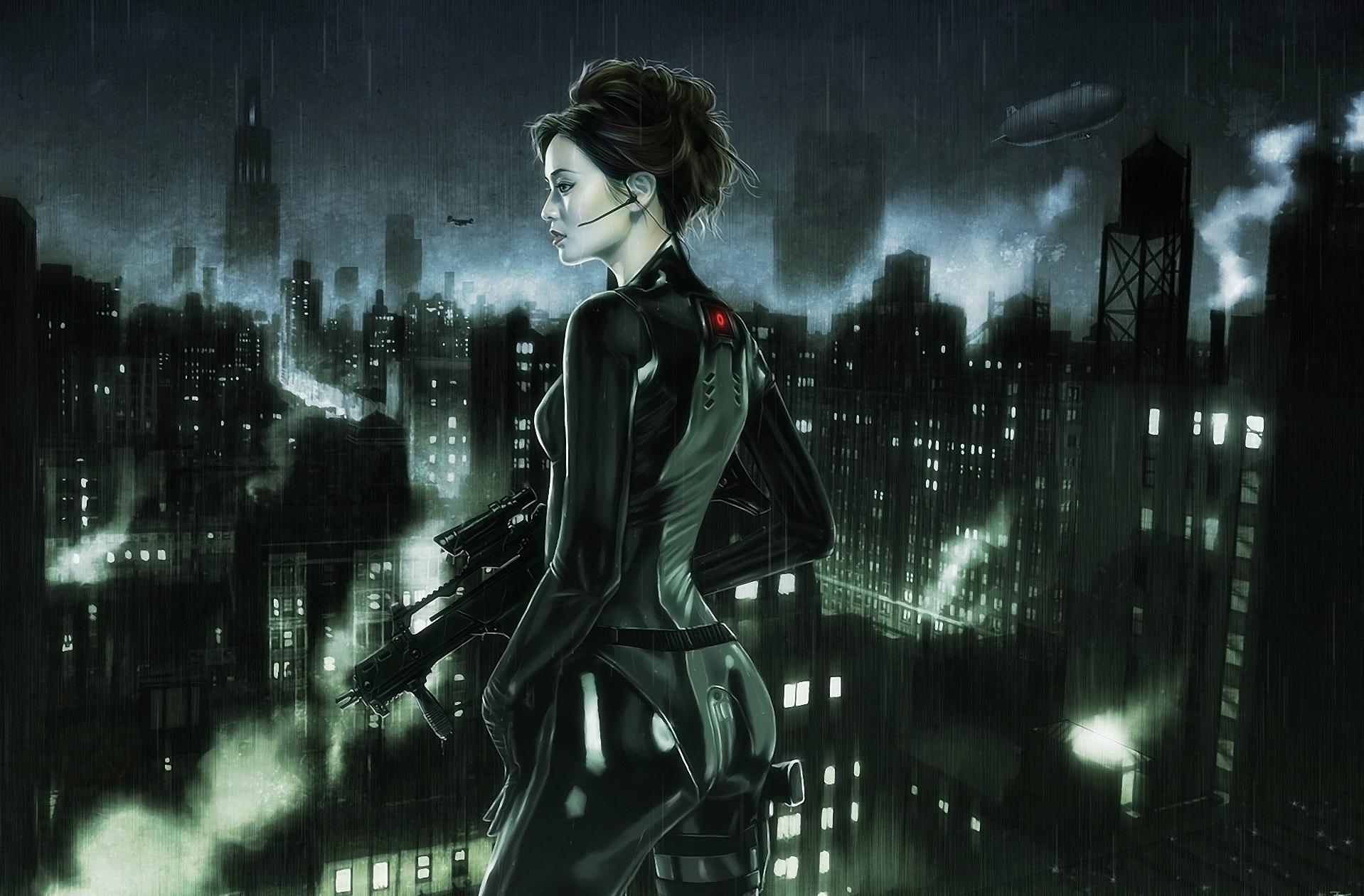 Women Warrior Artwork Sword Rain Cyberpunk Cyberpunk: Women Warrior Art
