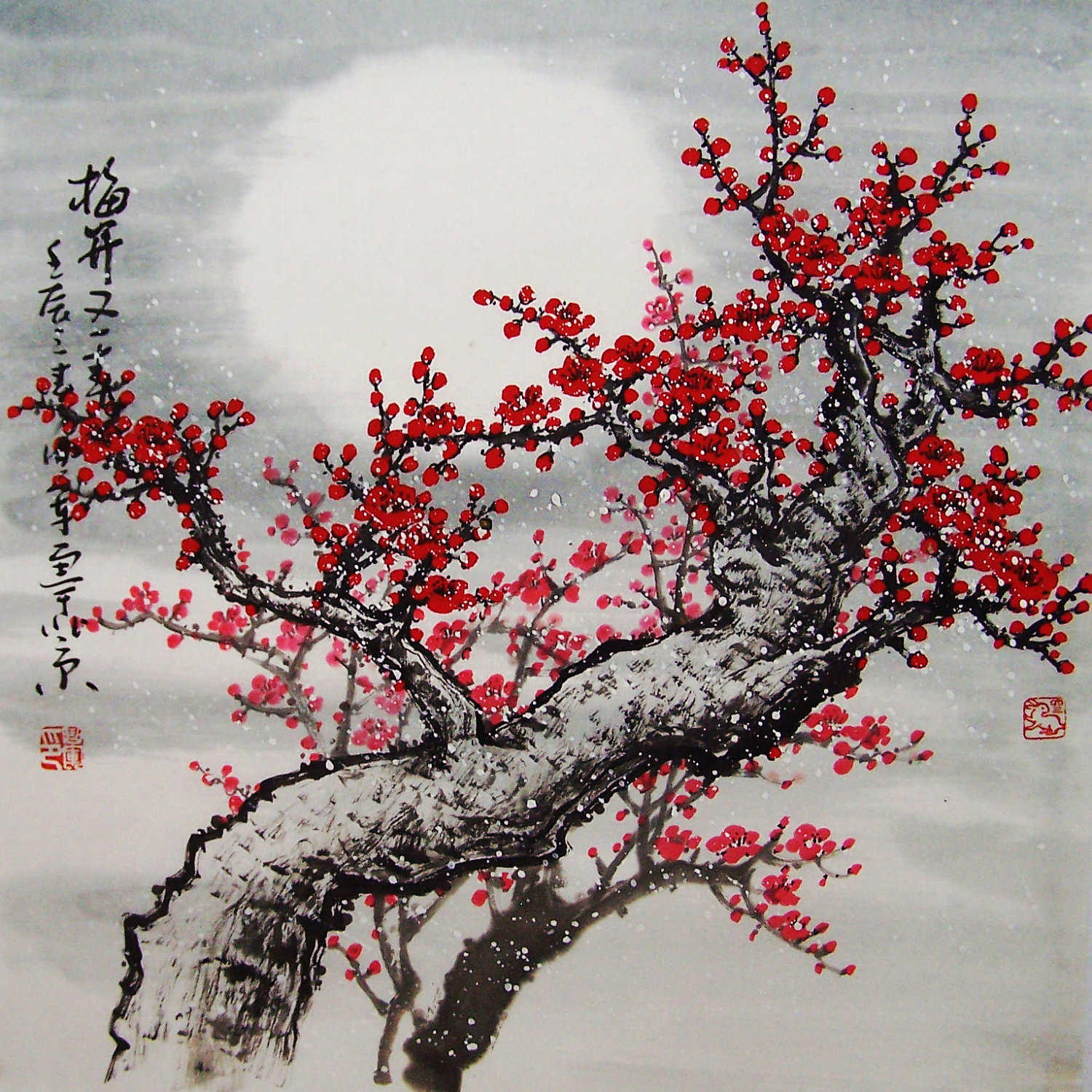 Chinese cherry blossoms art id 60886 art abyss for Cherry blossom mural works