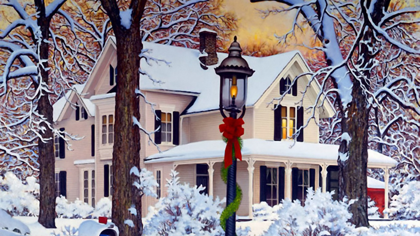 Christmas house with snow art - Preview Art 64578
