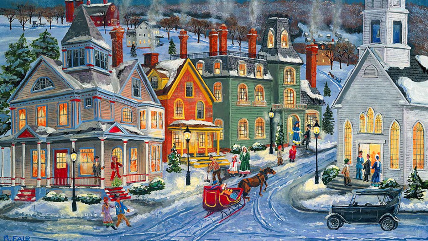 old fashioned christmas town wallpaper - photo #25