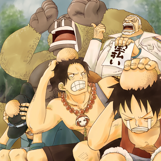 One Piece Asl Ace Sabo Luffy And Monkey D Garp One Piece