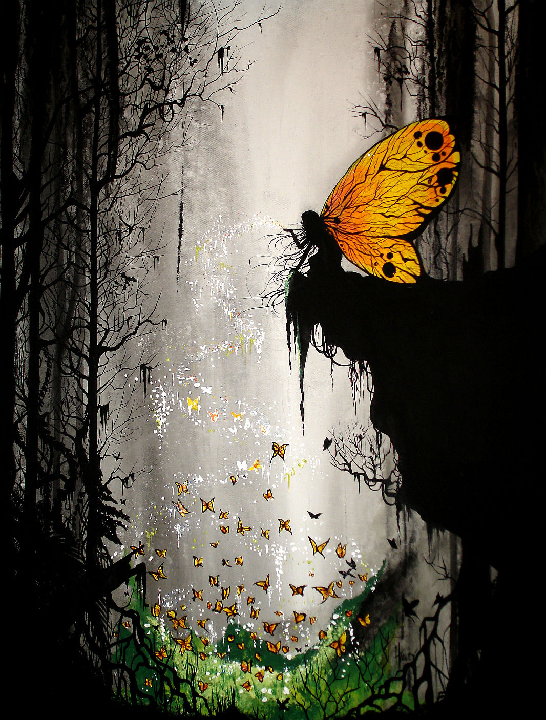 Butterfly fairy art id 7085 for Fairy painting easy