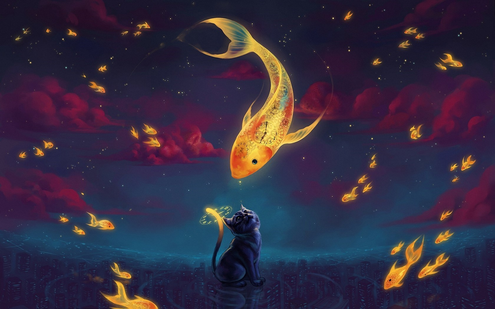 Art Fantasy Goldfish Kitten Night Stars Hd Wallpaper