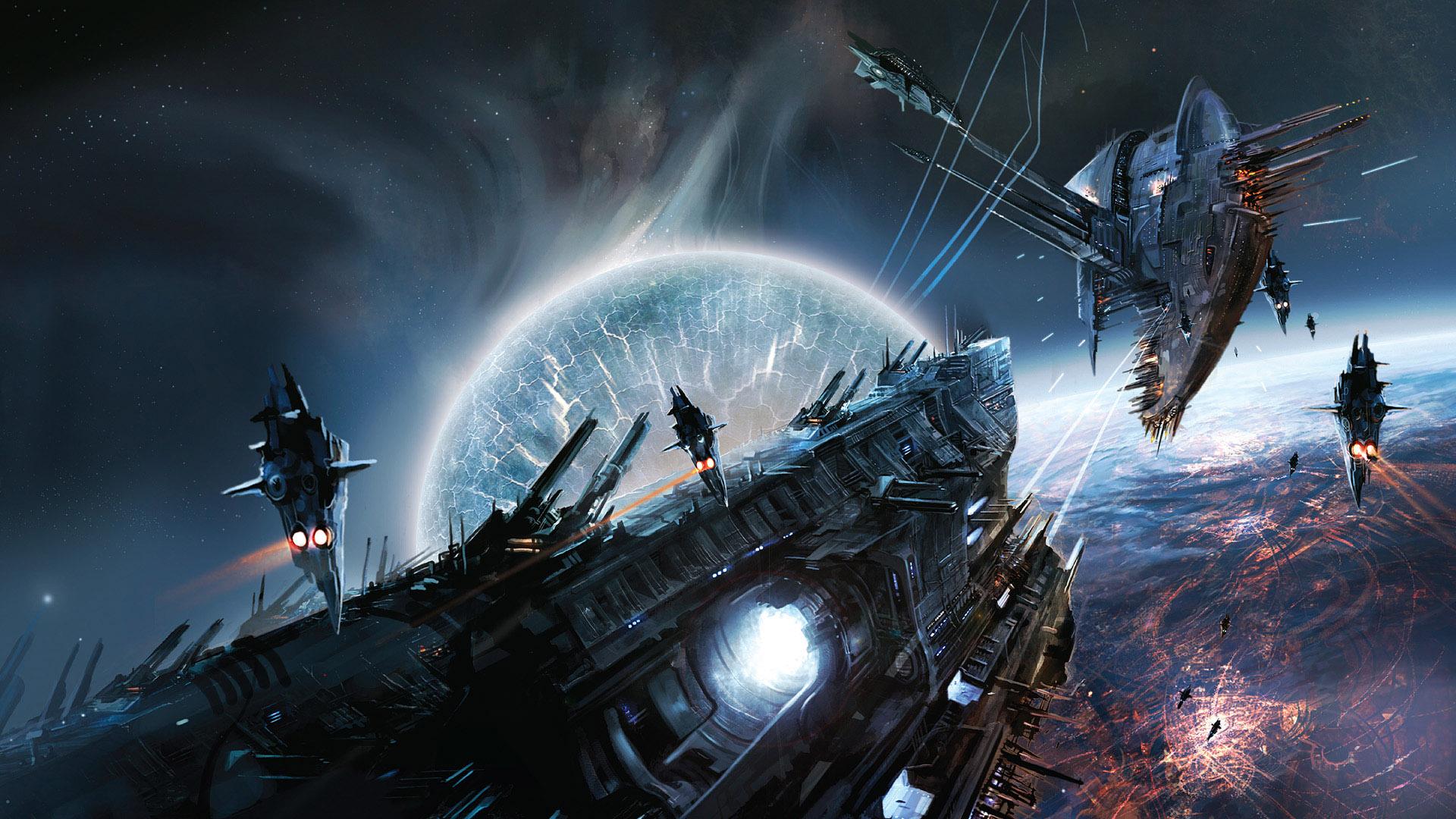 Обои Разрушенная планета, корабль картинки на рабочий стол на тему Космос - скачать бесплатно