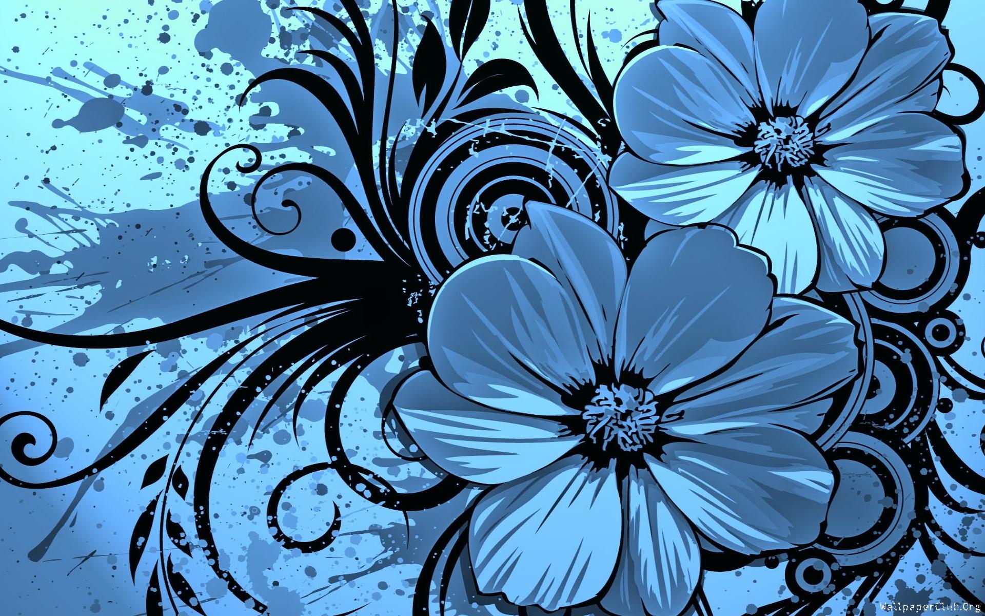 Dark Blue Flowers Art