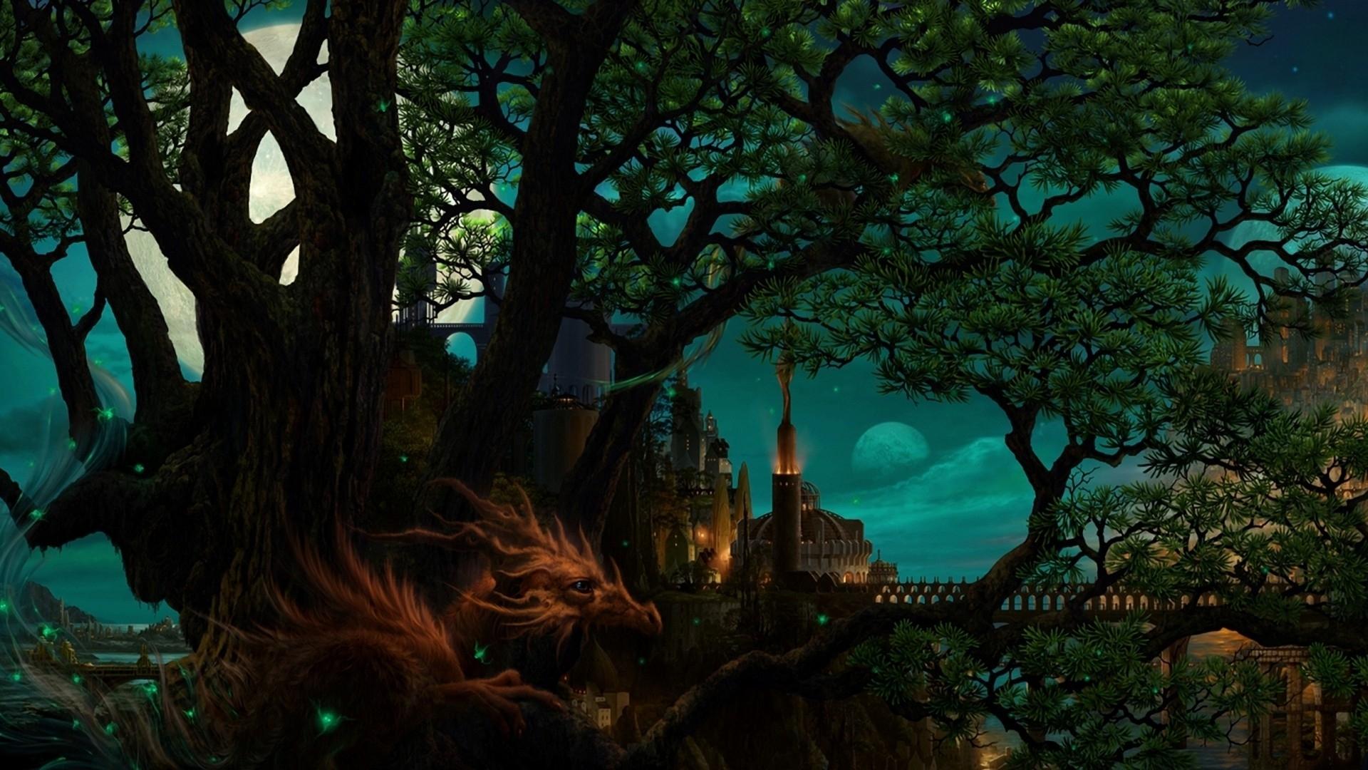 страны архитектура природа деревья ночь  № 3716924 загрузить