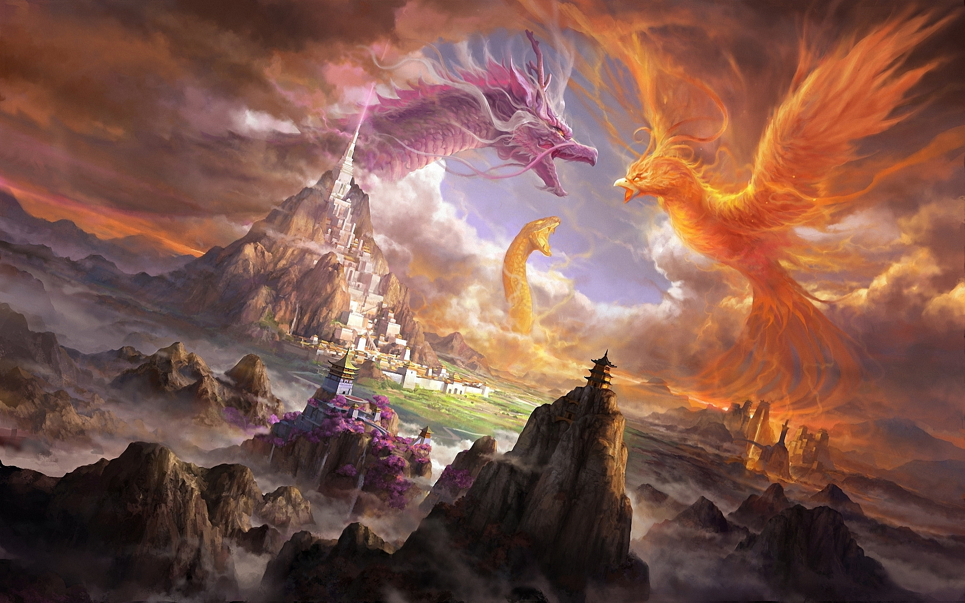 Dragon and Phoenix in Fantasy World Art - ID: 92795 - Art Abyss for Fantasy World Art Dragon  59nar